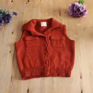 Vintage 1970s Knit Boho Orange Crop Top